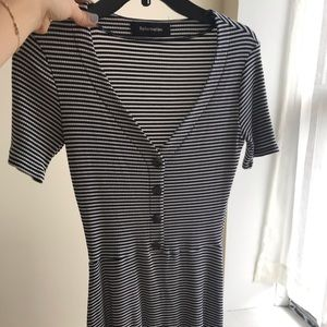 Reformation black and white striped dress